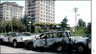 Burnt out cars in Addis Ababa