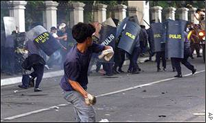Demonstrator throws a stone at security forces