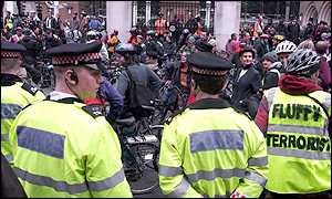Police and demonstrators at Liverpool Street station