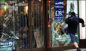Last year, protesters attacked Carphone Warehouse