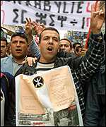A group of protesters marches in Kabylie region of Algeria