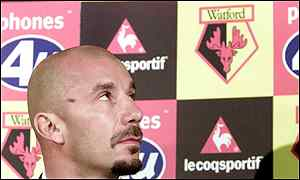 Gianluca Vialli is all set for the challenge at Vicarage Road