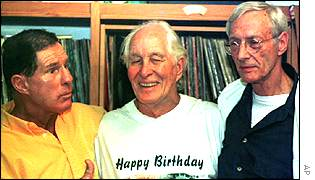 Roy Shaw (left), Ronnie Biggs (centre), Bruce Reynolds