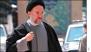 President Khatami arrives at interior ministry to register for elections