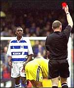Red card at a QPR match