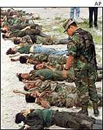 Bodies of rebels killed by government troops