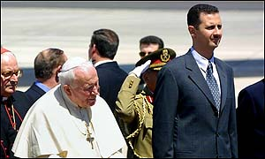 The Pope and Syrian President Bashar al-Assad at Damascus airport