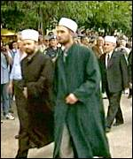 Muslim clerics during Serb nationalist demonstration in Trebinje