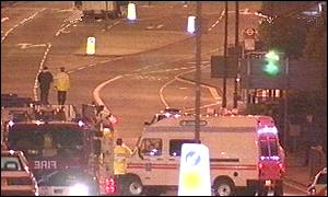 Emergency services at blast scene