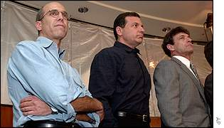 Dream Works co-founder Jeffrey Katzenberg, left, Walt Disney Company President and C.O.O. Robert Iger and, Alan Horn, President and COO of Warner Bros
