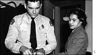 Rosa Parks being arrested in 1955