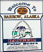 A sign warning of polar bears