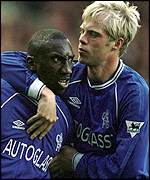 Gudjohnsen congratulates Hasselbaink after his 35-yard effort found the net