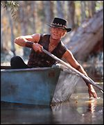 Crocodile Dundee in boat