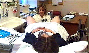 A patient undergoing a cervical examination