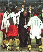 Pierre Lechantre celebrating African Cup victory
