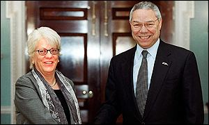 Carla del Ponte (left) with US Secretary of State Colin Powell