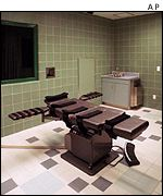 The interior of the death chamber at the US Penitentiary south of Terre Haute, Indiana