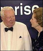 Edward Heath with Margaret Thatcher