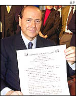 Berlusconi signs a five-point