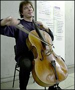 Julian Lloyd Webber at Westminster station