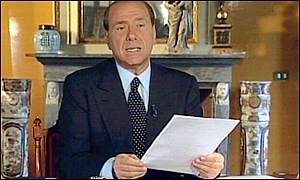 Silvio Berlusconi on television after his election victory