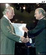 Karlheinz Stockhausen and King Carl XVI Gustaf