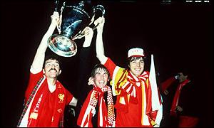Graeme Souness, Kenny Dalglish and Alan Hansen celebrate with the European Cup