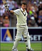 Steve Waugh reaches a hundred against West Indies
