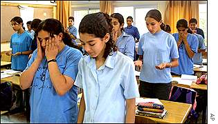 Eighth grade students mark Nakba in the Israeli Arab village of Arabe, located in northern Israel