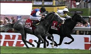 Willie Ryan and Benny the Dip narrowly finished ahead of Silver Patriarch ridden by Pat Eddery in 1997