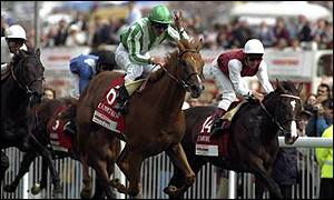 Lammtarra and Walter Swinburn fought off resistance from Tamure, ridden by Frankie Dettori in 1995