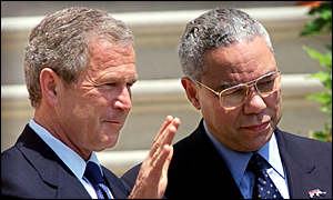 President George W Bush and Colin Powell