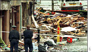 The aftermath of the bombing of Omagh, Northern Ireland