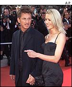 Sean Penn and his wife arriving at the cinema