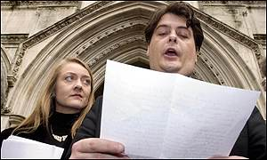 David Shayler with girlfriend Annie Machon outside the High Court
