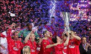 Liverpool lift the Uefa Cup in Dortmund