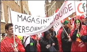m&s workers staging a demo in London