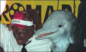 The Toxic Avenger and his dolphin-headed friend hit the dance floor