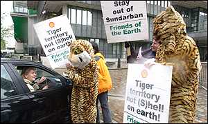 Protestors outside a Shell conference in London on Thursday