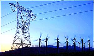 High tension power lines and wind turbines in California