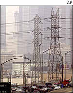 Power lines in Los Angeles, CA