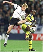 Colin Hendry tussles with West Brom's Jason Roberts