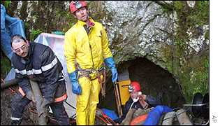 Rescue workers at the Bief Paroux cave in Goumois, France