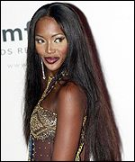 Model Naomi Campbell arriving at the Moulin de Mougins restaurant