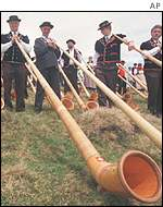 Swiss Alpenhorn players
