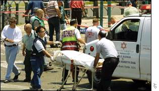 Medics removing bodies