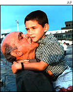 Elian Gonzalez is welcomed home by his grandfather
