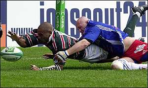 Leon Lloyd scores his first try for Leicester