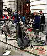 Photographers camped outside Downing Street